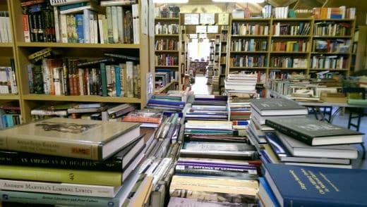 Books in the bookshop at Aardvark Books, Brampton Bryan