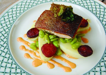 Caramelised Sea Trout with chorizo, baby broad beans and little gem 4