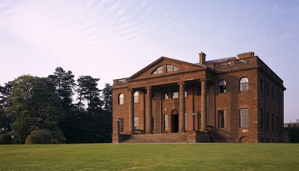 Photo of the west view of the tetrastyle portico with Ionic columns at Berrington Hall, Herefordshire