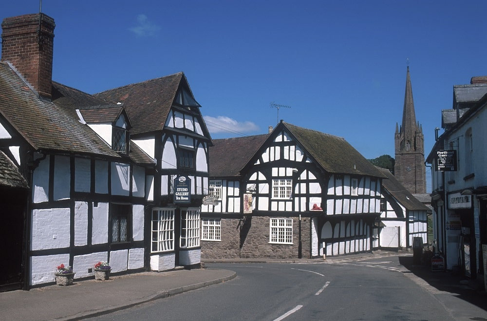 Photo of Weobley village with black and white timbered buildings