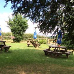 The garden at The Trumpet Inn, Ledbury, Herefordshire