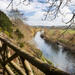 The River Wye from the foot bridge at The Weir Garden, Herefordshire