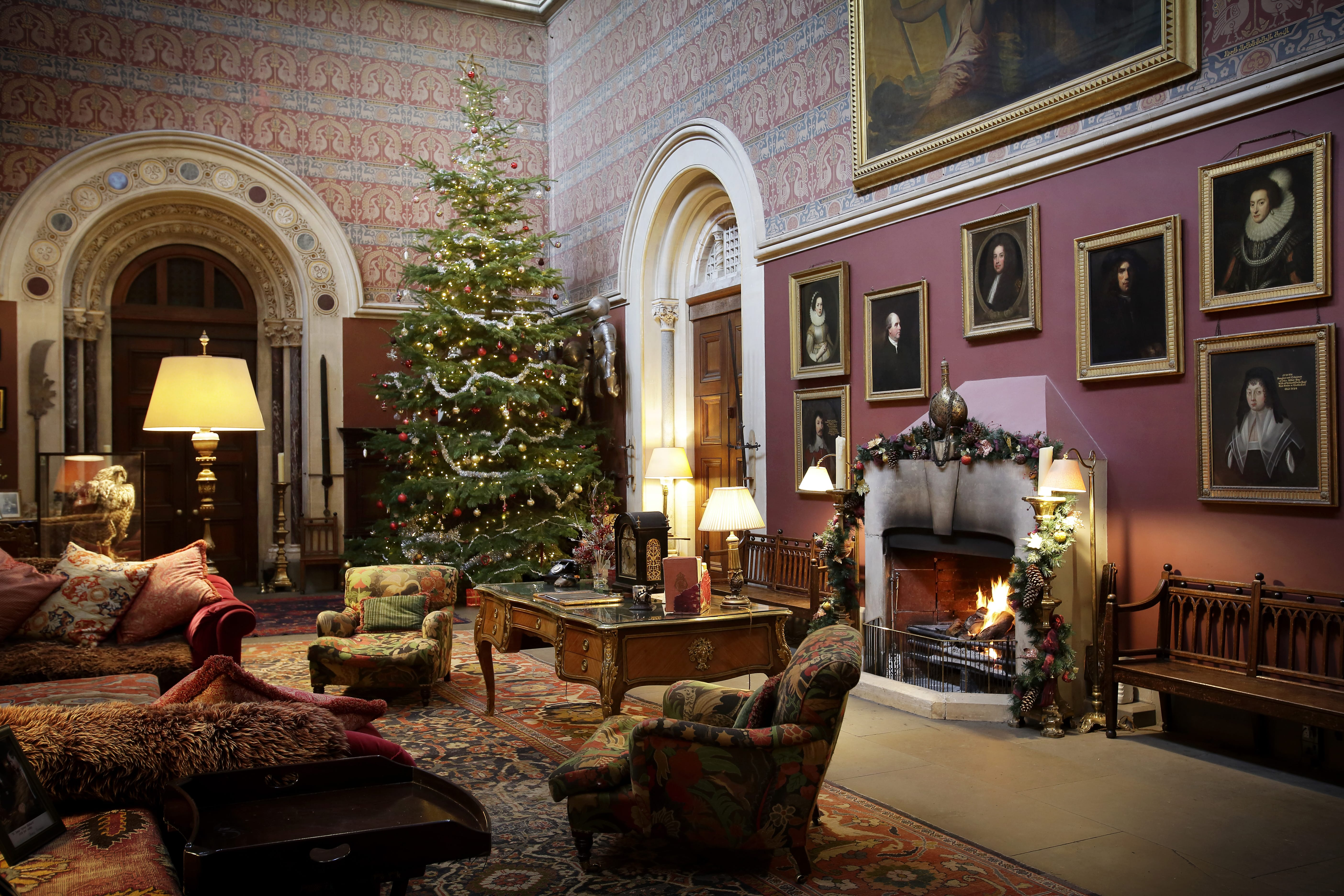 The Great Hall at Eastnor Castle with Christmas Decorations and tree up