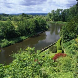The Weir and the River Wye in summer, Herefordshire.