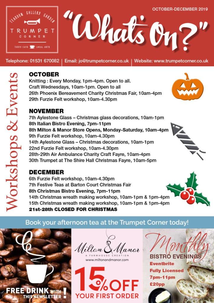 Events at Trumpet Corner October - December 2019