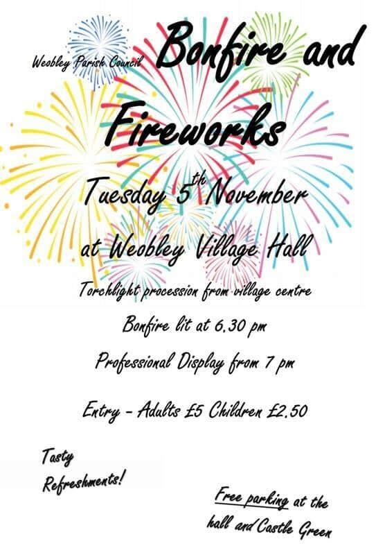 Weobley Bonfire and Fireworks Display