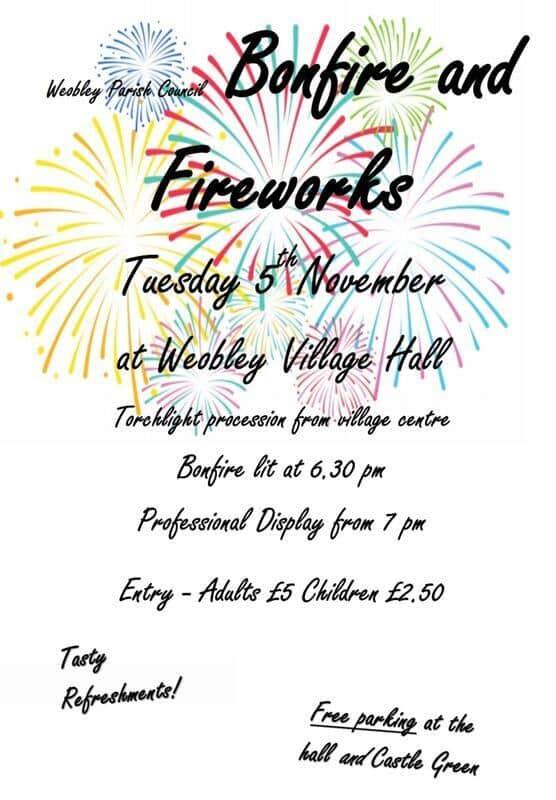 Weobley Bonfire and Fireworks Display
