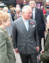 HRH Prince Charles talking to well wishers in Ross on Wye