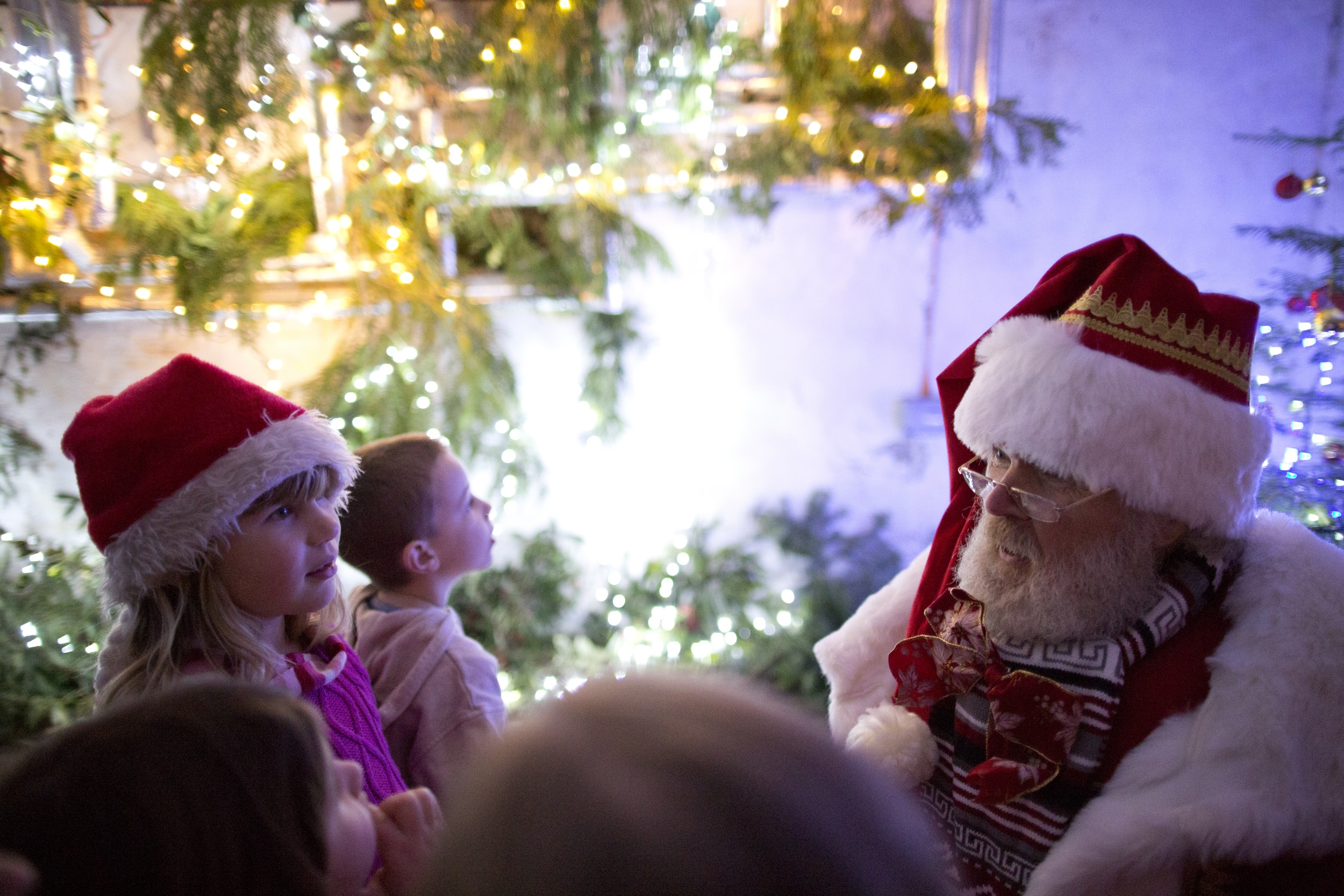 Father Christmas with children at Croft Castle, Herefordshire