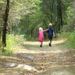 Golden Valley brother and sister walk in woods