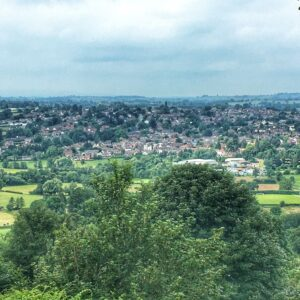view over Bromyard town from The Downs