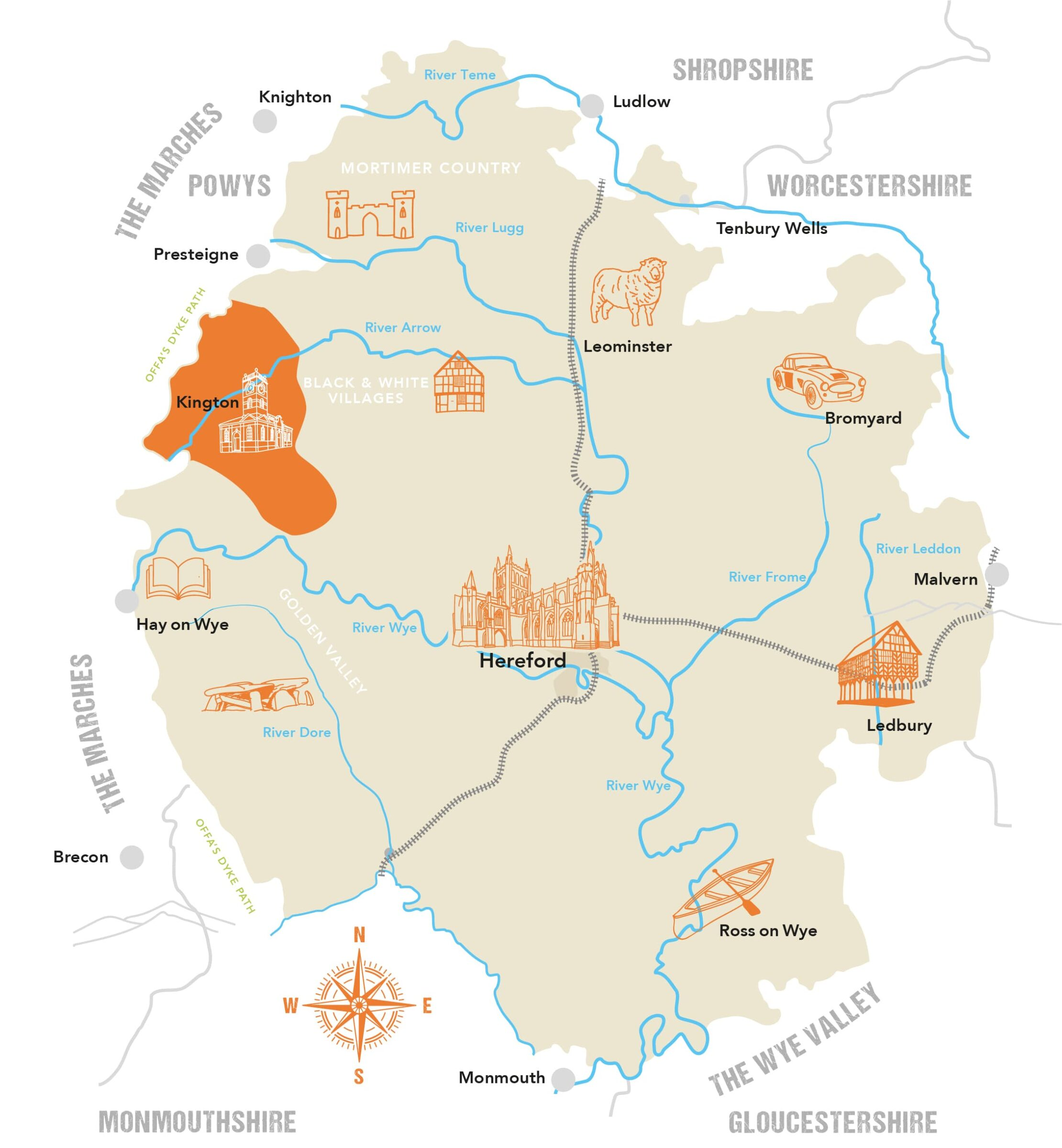 County Map Kington