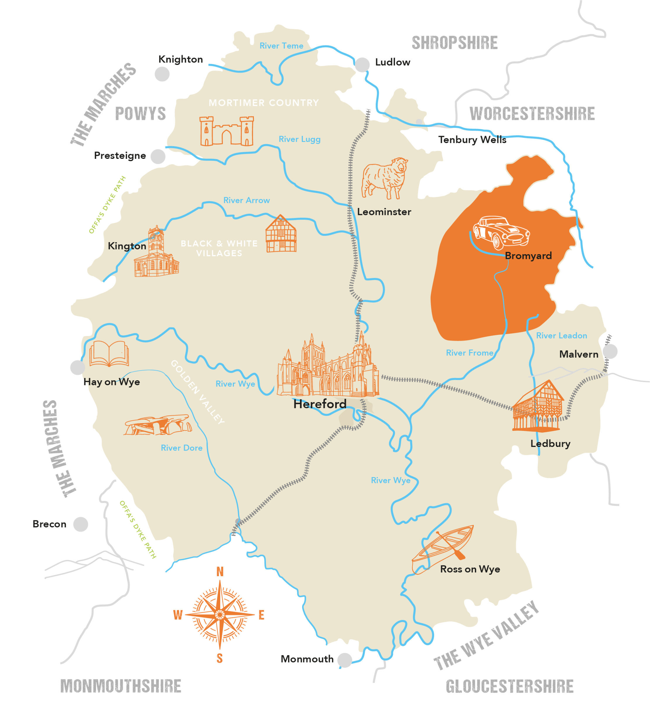 Herefordshire County Map Bromyard