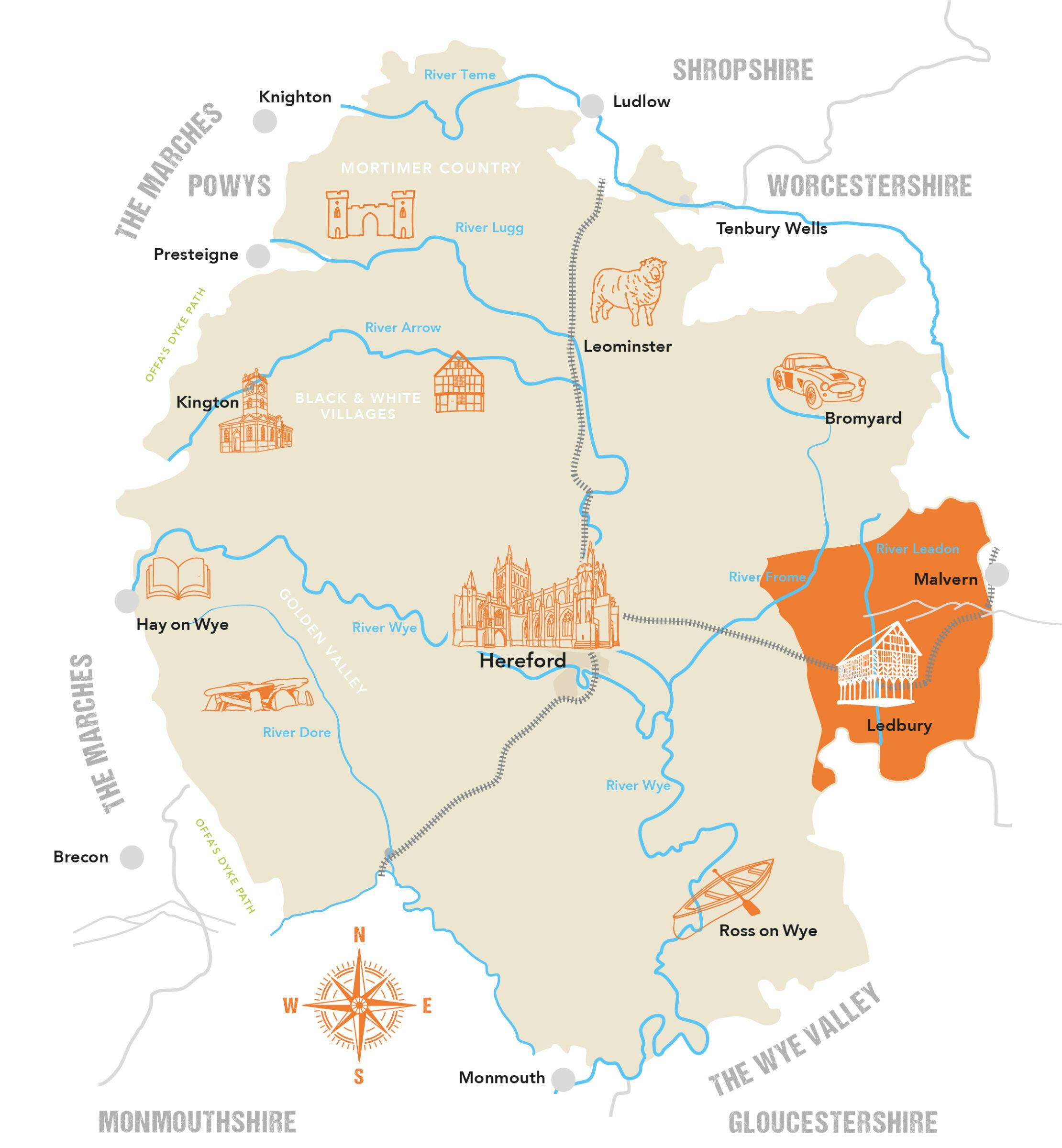 Herefordshire County Map Ledbury