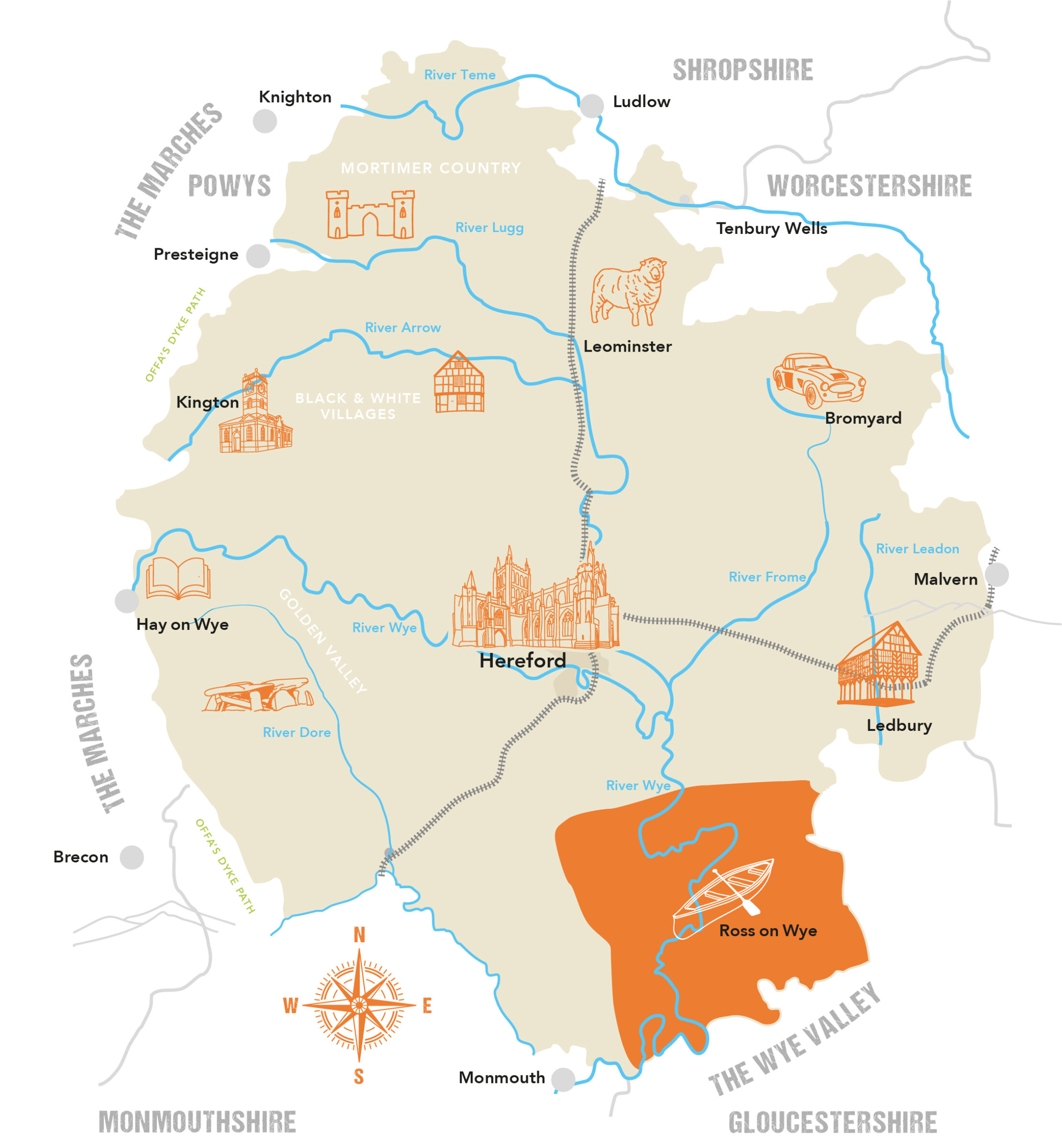 Herefordshire County Map Ross on Wye