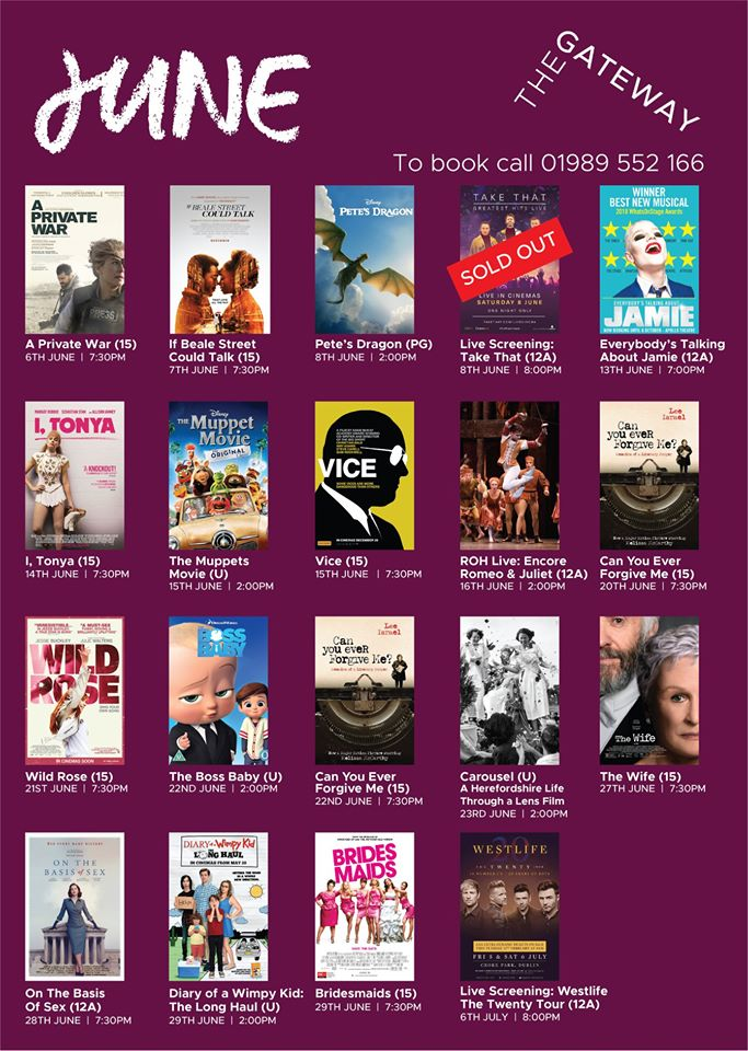 June films at The Gateway Ross on Wye