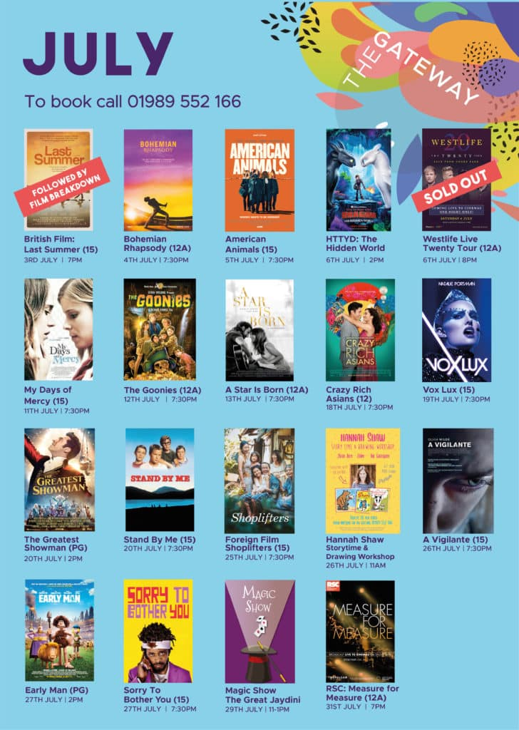 July films showing at The Gateway Cinema